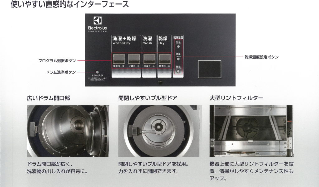 エレクトラックス洗濯乾燥機説明